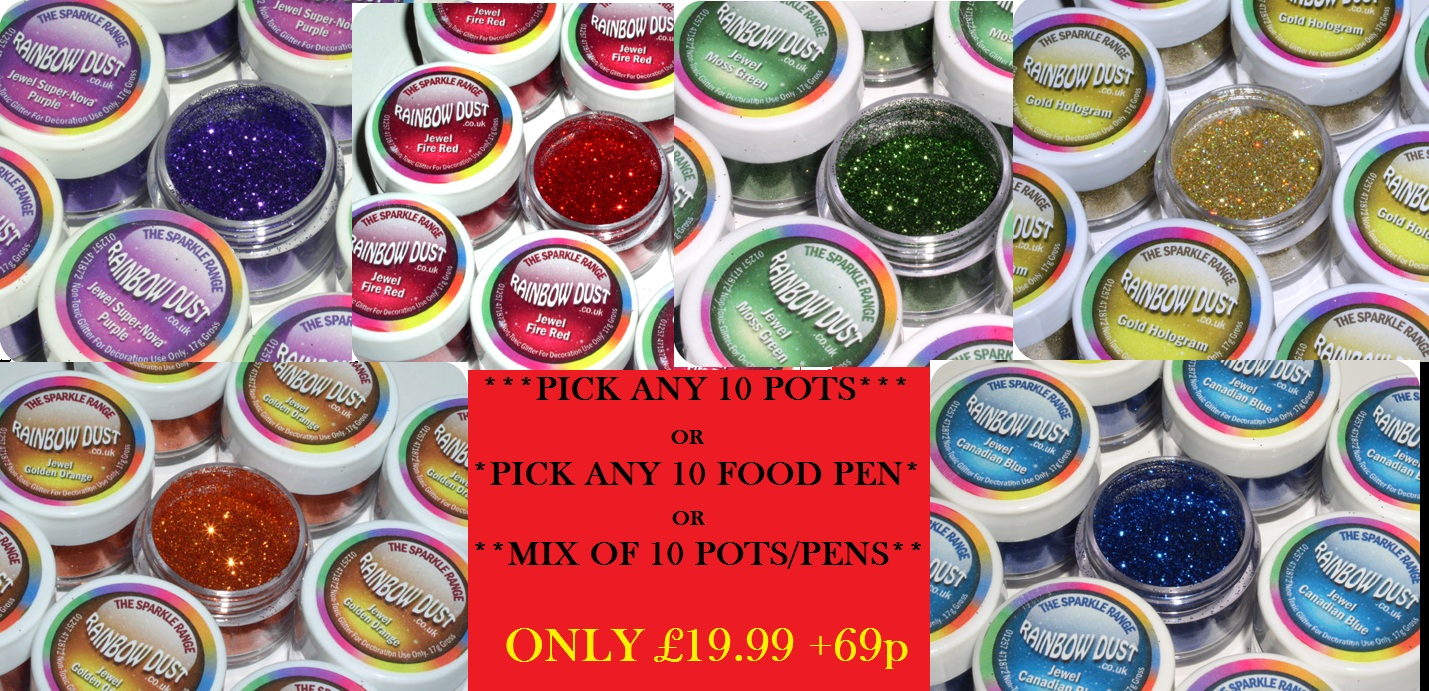 **10 X Any** Rainbow Dust Edible &/or Non Toxic Party Cake Glitter FULL RANGE Enlarged Preview